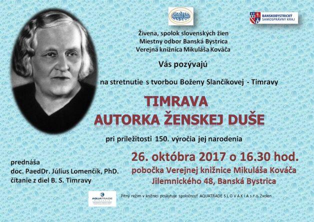 B.S.Timrava - pozvánka
