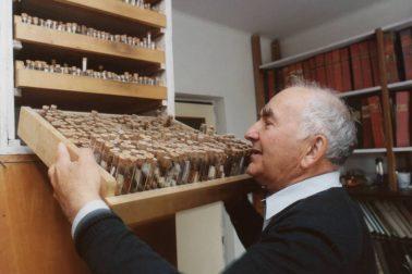 Jan Patočka so zbierkou kukliel motýľov