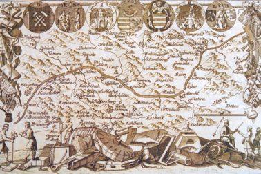 Mapa siedmych banských miest z roku 1760