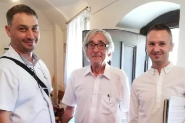 Beloslav Riečan so svojimi nástupcam (zľava Peter Bibza a sprava Tomáš Škraban)