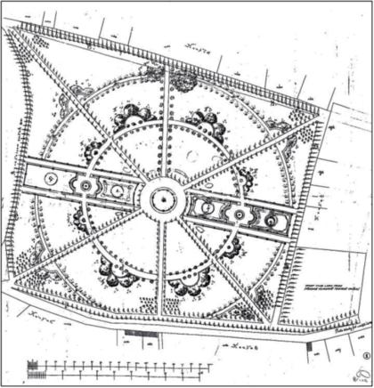 Pôvodný pôdorys historického parku podľa Ármina Petza 1896