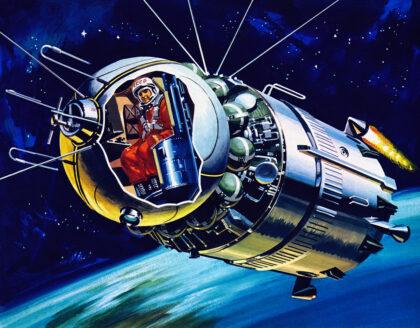 Schéma kozmickej lode s Gagarinom